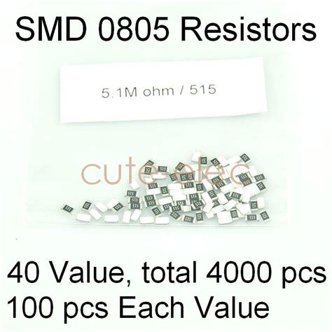 how to read chip resistor values smd smt 0805 40 value chip resistor 30 value capacitor assorted kit diy ebay