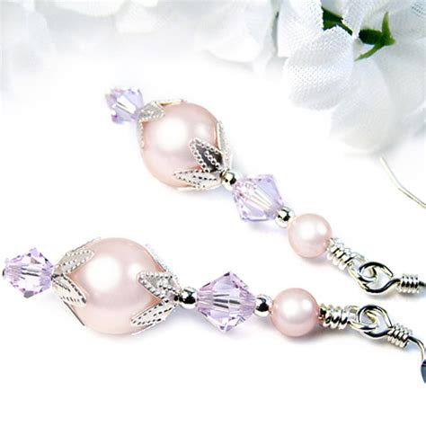 Swarovski Handmade Earrings - pink pearl dangle earrings violet crystals swarovski