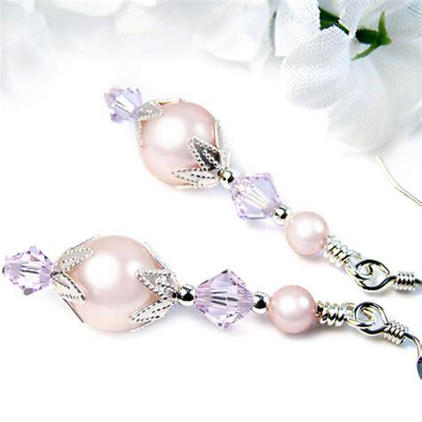 Swarovski Handmade Earrings - pink pearl dangle earrings violet crystals swarovski