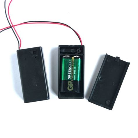 Pp3 9v Battery Holder Box With Onoff Switch Dc 21mm 9v battery box pp3 battery holder connector with wire lead on switch cover free