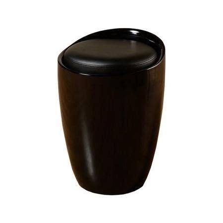 Black Leather Storage Stool by Seconique Black Storage Stool With Faux Leather Padded