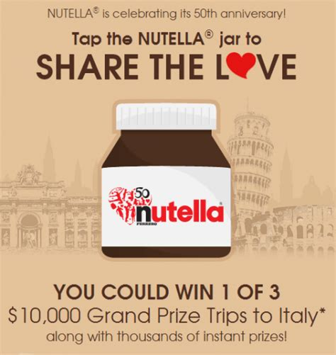 Canada Contests And Giveaways - nutella canada contest free sles and lots of instant win prizes canadian