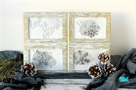 winter home decorations rustic frosted frames winter home decor diy project tutorial