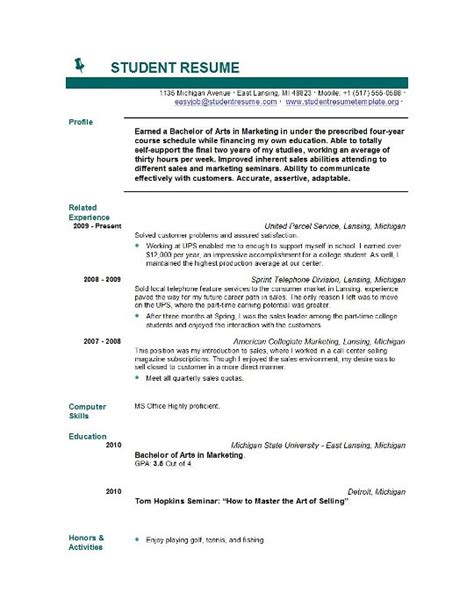 Resume Templates For Students by Student Resume Templates Student Resume Template