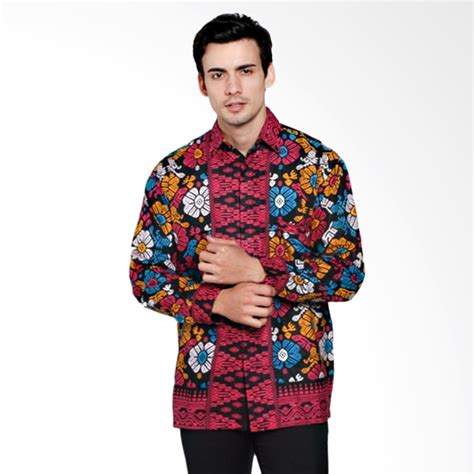 Kemeja Batik Songket Pria Lengan Panjang Baju Batik Modern Cowok jual jogja batik motif songket bali kemeja batik pria