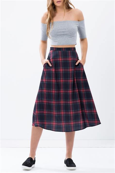 the fifth label tartan midi skirt from by myths