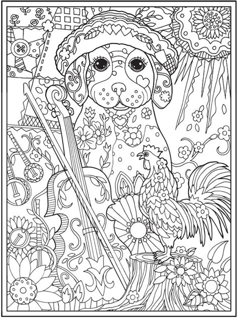 coloring pages for adults of dogs welcome to dover publications