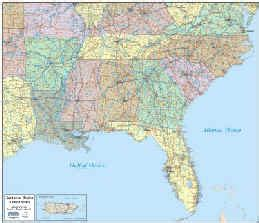 printable southeast us road map southeast united states county map my blog