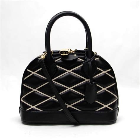 Louis Vuitton Leather auth louis vuitton malletage alma bb handbag black leather