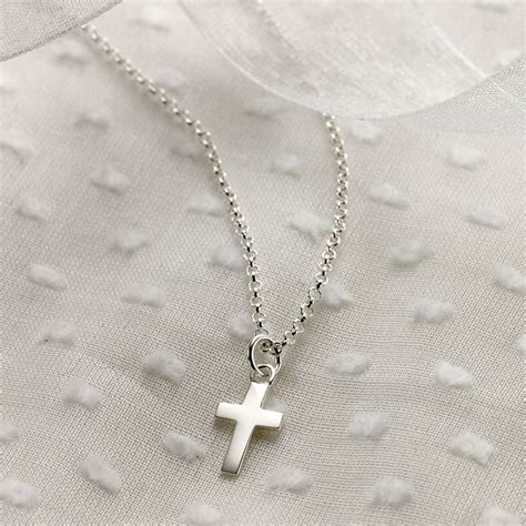 childs christening cross necklace by molly brown