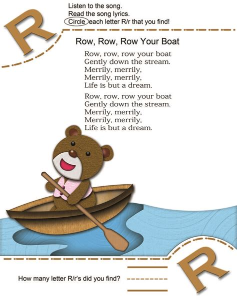 row your boat lyrics kid song learn alphabet letter r with abc nursery rhymes then