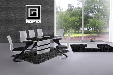 K2 White Black Glass Designer Extending Dining Table Only