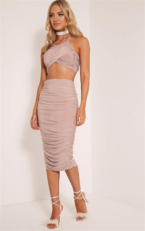 7 Pretty Skirts From Ruche by Sanchia Mink Ruched Side Midi Skirt Skirts
