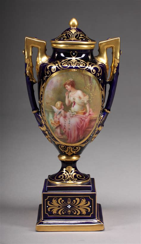 Royal Vienna Vase by An Early 20th Century Lidded Royal Vienna Vase For Sale