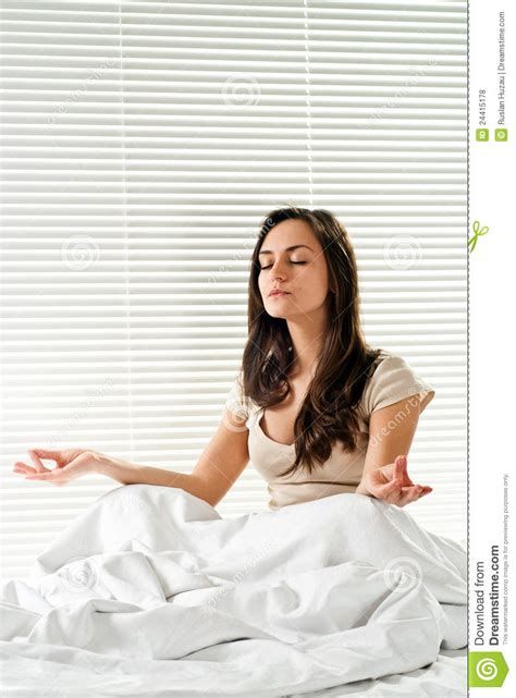 sitting in bed young caucasian nice woman sitting in bed royalty free stock photos image 24415178