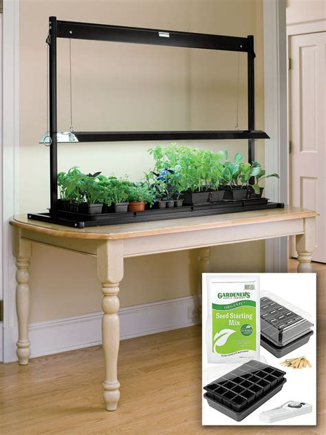 tabletop with light t5 fluorescent grow lights and tabletop garden starter kit