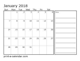 Calendar 2018 Printable With Notes 2018 Printable Calendars