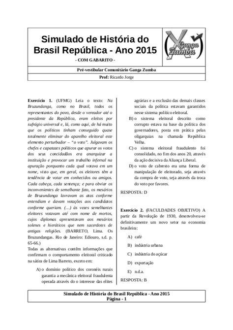 Simulado de história do brasil república