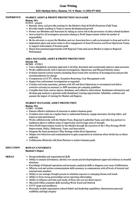 Asset Protection Manager Sle Resume by Manager Asset Protection Resume Sles Velvet