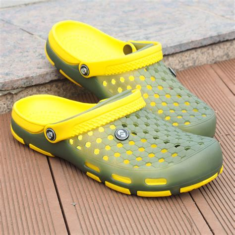Jelly Shoes Cow Yellow Js10008 summer mens clogs slippers for jelly n 186 garden garden shoes mule clogs