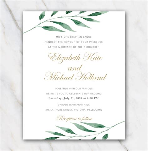 Wedding Invitation Template For Free With An Olive Branch Windows Wedding Invitation Template