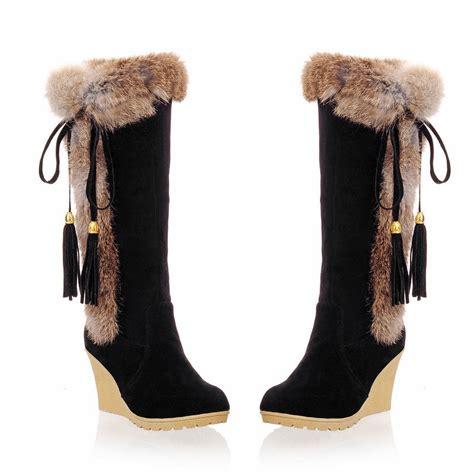 womens high heel wedge tassel fur top trim knee high boot