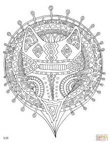 tribal pattern coloring pages forest cat with tribal pattern coloring page free