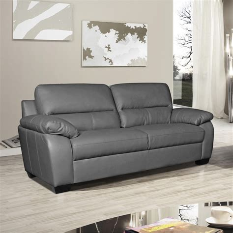 Artena High Backed Slate Grey Leather Sofa Collection Leather Sofa Grey