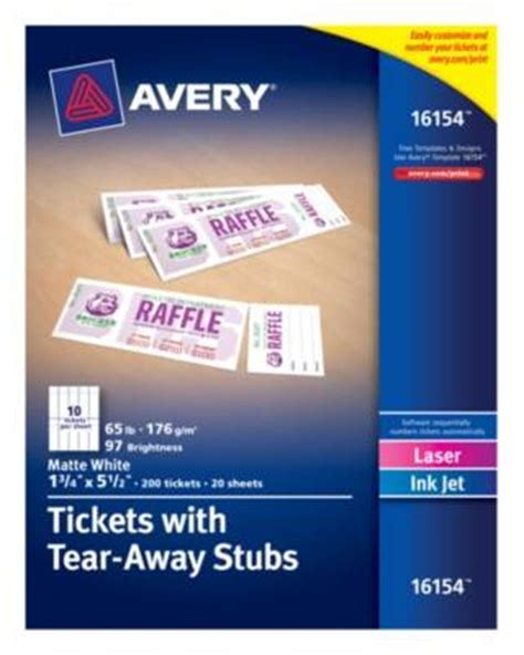 printable tickets with tear away stubs avery 8371 perforated inkjet business card walmart com