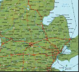 Michigan Map Cities by Road Map Lower Michigan Bing Images