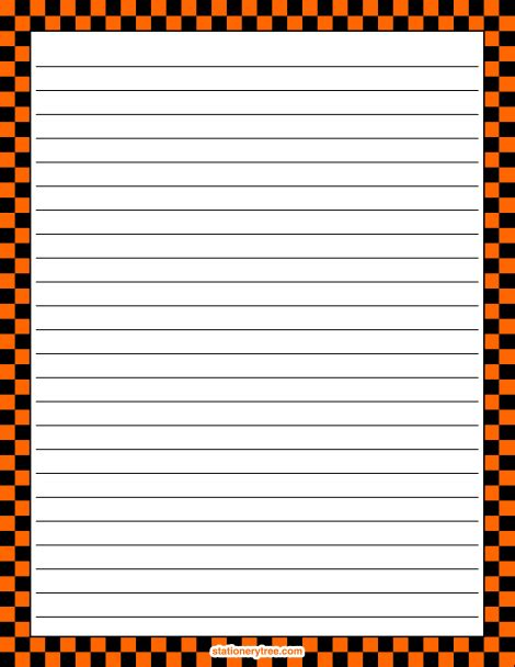 printable stationery without lines printable orange and black checkered stationery and