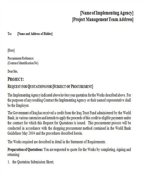 Business Letter Request For Quotation contractor quotation sle free building quote template
