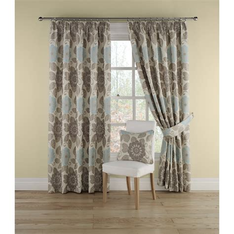 Teal Floral Curtains Montgomery Annoushka Teal Floral Pencil Pleated Readymade Curtains Montgomery From Emporium