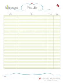 Blank Price List Template Free Downloads Faithful Provisions