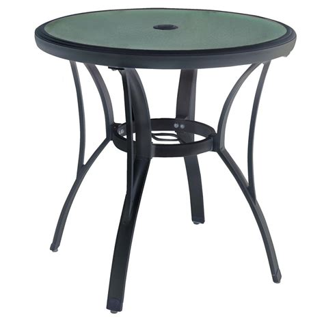 Hton Bay Brown Round Commercial Grade Aluminum Outdoor Bistro Table Patio