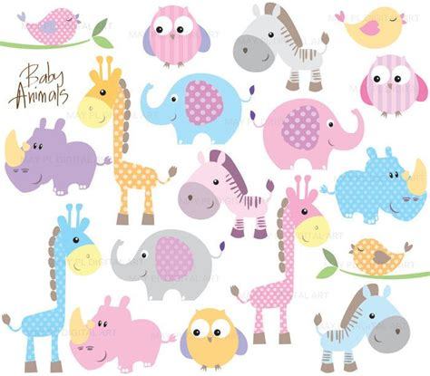 Baby Animal Clipart Baby Shower by Baby Animal Clipart Digital Clip Pink