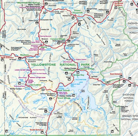 map of yellowstone park yellowstone national park map