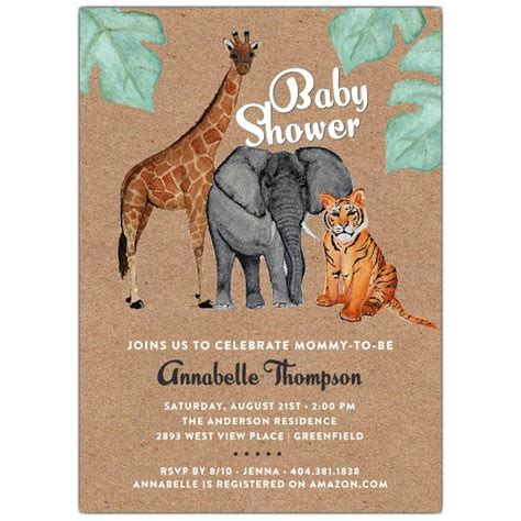 Safari Themed Baby Shower Invitations by Watercolor Safari Animals Baby Shower Invitation Paperstyle