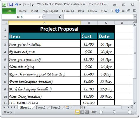 landscape layout in excel creating a project material list
