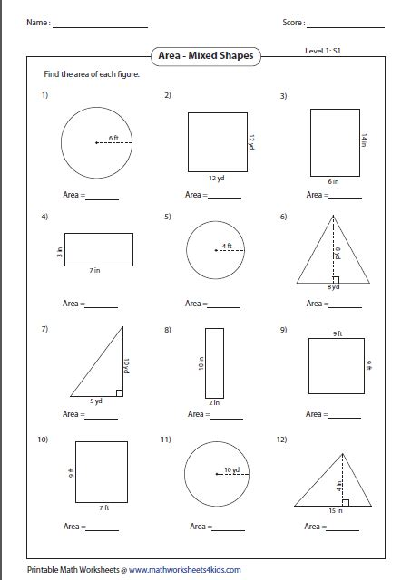 printable math worksheets surface area mixed shapes area worksheets