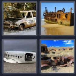 hay un barco olvidado en la playa letra 4 fotos 1 palabra auto oxidado abandonado barco viejo