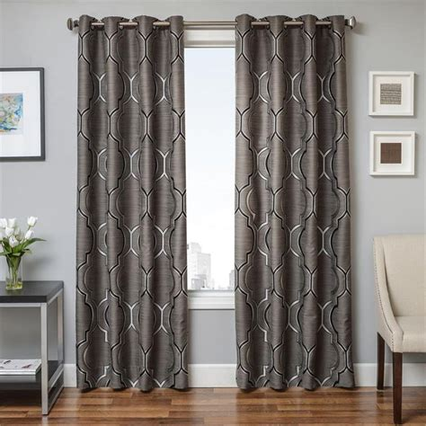 108 grey curtains tryst curtain panels in gunmetal grey grommets back