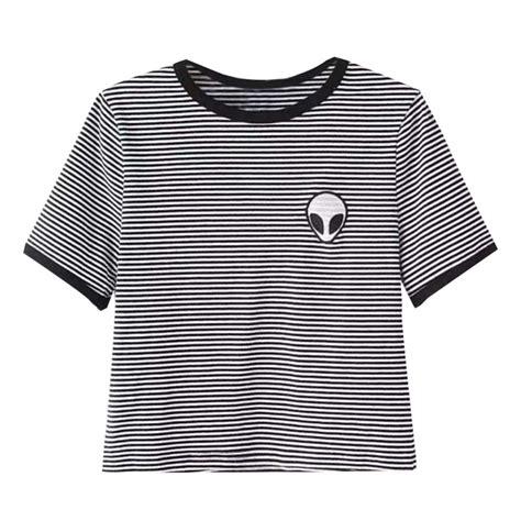 sleeve print cropped t shirt print aliens crop tops sleeve t shirt
