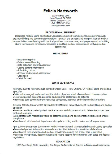 sle resume for billing specialist billing specialist resume exles exles of