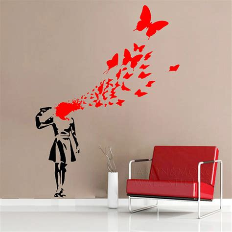 custom wallcoverings wallpaper decals and installation aliexpress com buy creative banksy girl butterfly blood