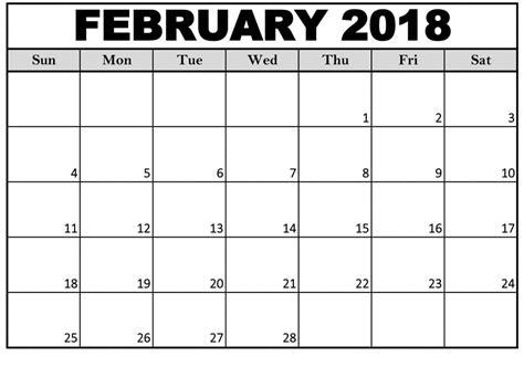 printable monthly calendar february 2018 february 2018 calendar printable pdf free download free