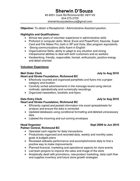 administrative assistant resume sles front desk clerk cover letter country of origin letter