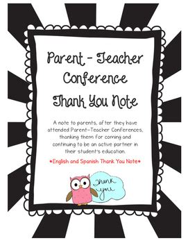 thank you letter to parents after conferences parent conference thank you note and