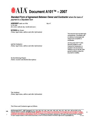 2007 2018 Form Aia Document A101 Fill Online Printable Fillable Blank Pdffiller Aia Contract Template