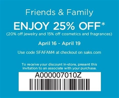 Friends And Family Discount At Prescriptives by Saks Fifth Avenue Friends Family Discount